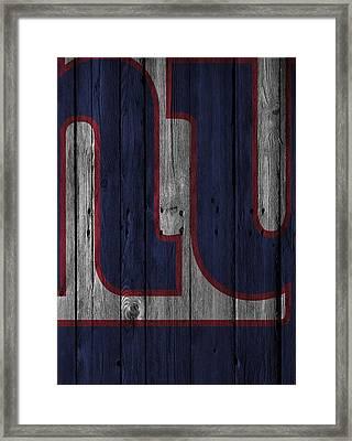 New York Giants Wood Fence Framed Print by Joe Hamilton