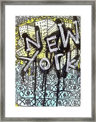 New York Graffiti Scene Framed Print by Robert Wolverton Jr