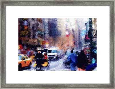New York Hustle And Bustle Framed Print by Georgiana Romanovna