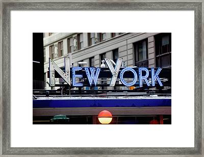 New York In Neon Framed Print by Art Block Collections