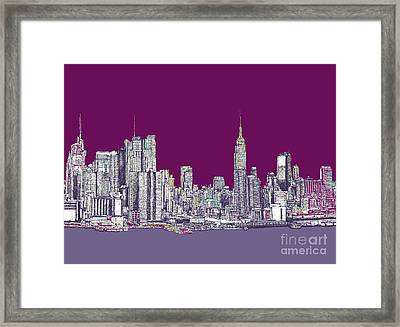 New York In Purple Framed Print by Adendorff Design
