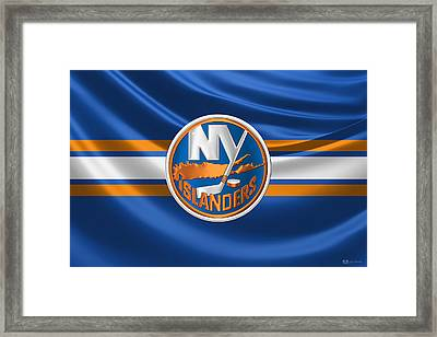 New York Islanders - 3 D Badge Over Silk Flag Framed Print by Serge Averbukh