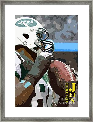New York Jets Football Team And Original Yellow Typography Framed Print by Pablo Franchi
