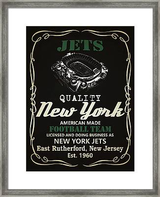 New York Jets Whiskey Framed Print by Joe Hamilton