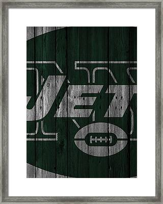 New York Jets Wood Fence Framed Print by Joe Hamilton