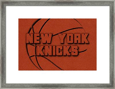 New York Knicks Leather Art Framed Print