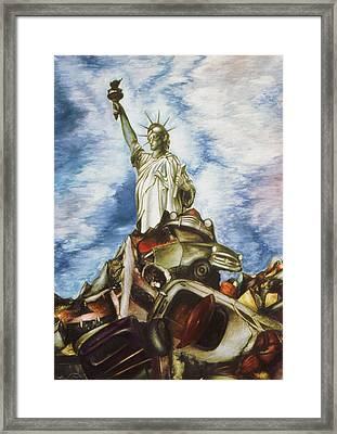 New York Liberty 77 - Fantasy Art Framed Print by Art America Gallery Peter Potter