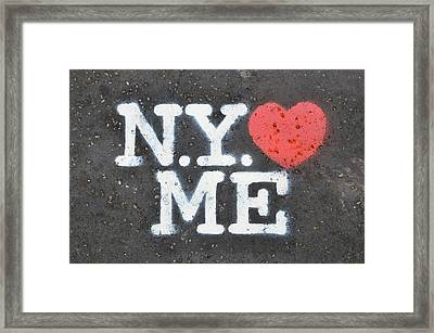 New York Loves Me Stencil Framed Print