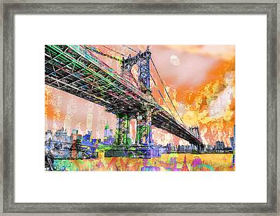 New York City Manhattan Bridge Gold Framed Print by Tony Rubino