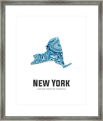 New York Map Art Abstract In Blue Framed Print