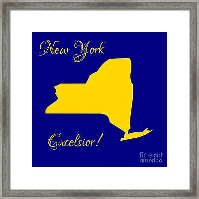 New York Map In State Colors Blue And Gold With State Motto Excelsior Framed Print by Rose Santuci-Sofranko