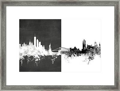 New York Memphis Skyline Mashup Framed Print