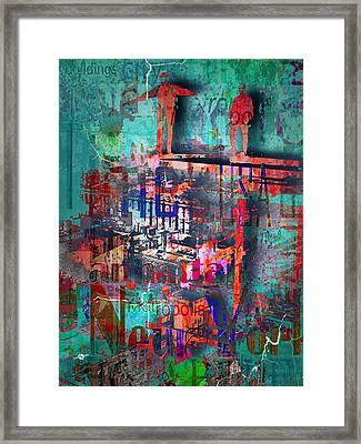 New York Men On Unfinished Skyscraper Green Framed Print