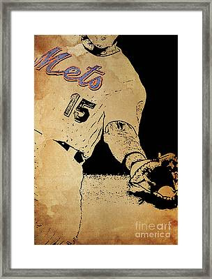 New York Mets 15 Red And Blue Vintage Cards On Brown Background Framed Print