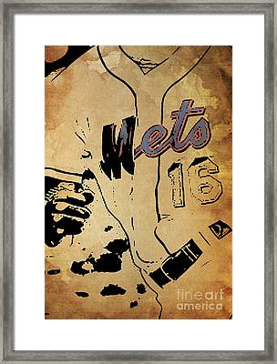 New York Mets 16 Red And Blue Vintage Cards On Brown Background Framed Print