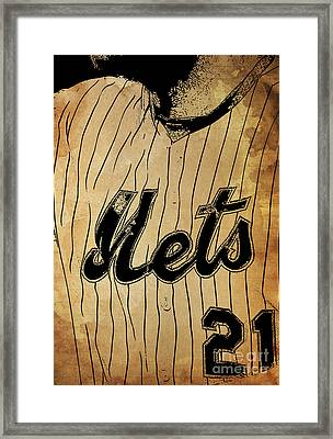 New York Mets 21 Red And Blue Vintage Cards On Brown Background Framed Print