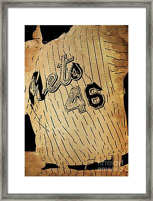 New York Mets 46 Red And Blue Vintage Cards On Brown Background Framed Print