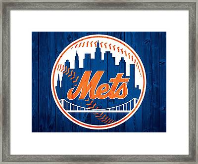 New York Mets Barn Door Framed Print by Dan Sproul
