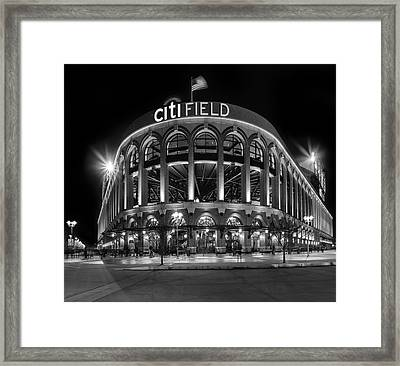 New York Mets Citi Field Bw Framed Print by Susan Candelario