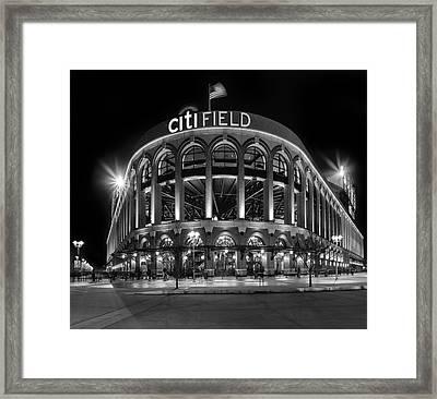 New York Mets Citi Field Bw Framed Print