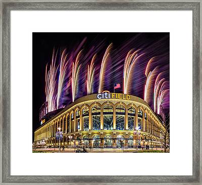 New York Mets Citi Field Fireworks Framed Print