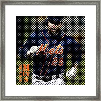 New York Mets Dots News Framed Print by Pablo Franchi