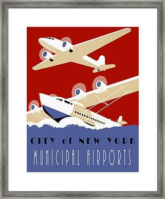 New York Muni Airports W P A Redux Framed Print by Daniel Hagerman
