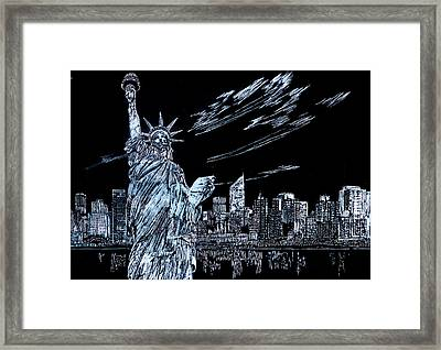 Framed Print featuring the drawing New York New York New York  by Saad Hasnain