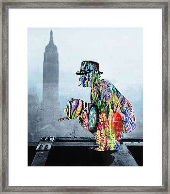New York Photographer On Unfinished Skyscraper And Skyline Blue Framed Print