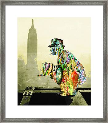 New York Photographer On Unfinished Skyscraper And Skyline Gold Framed Print