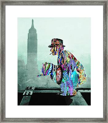 New York Photographer On Unfinished Skyscraper And Skyline Green Framed Print