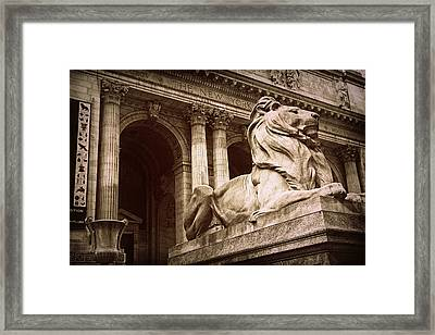 New York Public Library Lion Framed Print by Jessica Jenney