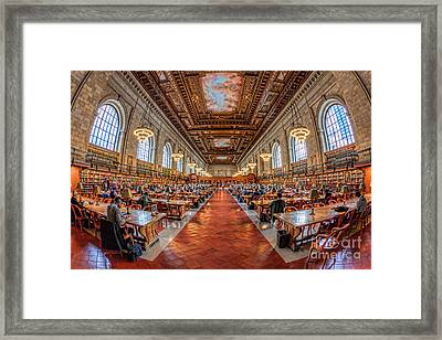 New York Public Library Main Reading Room I Framed Print by Clarence Holmes