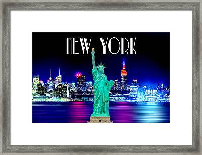 New York Shines Framed Print by Az Jackson