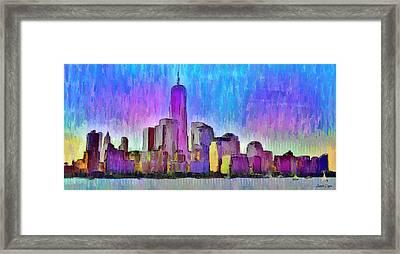 New York Skyline 2 - Pa Framed Print