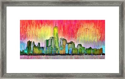 New York Skyline 3 - Pa Framed Print by Leonardo Digenio