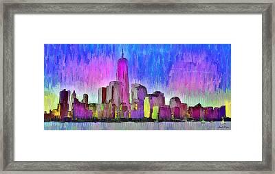 New York Skyline 4 - Pa Framed Print by Leonardo Digenio