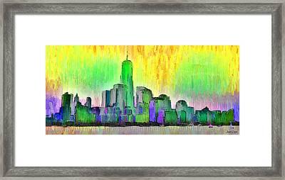 New York Skyline 5 - Pa Framed Print by Leonardo Digenio