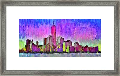 New York Skyline 7 - Pa Framed Print