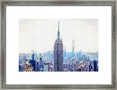 New York Skyline Art- Mixed Media Painting Framed Print
