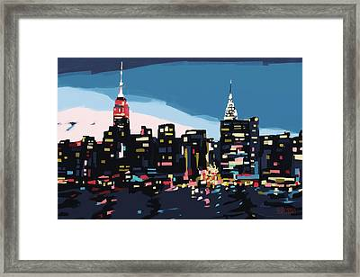 New York Skyline At Dusk In Navy Blue Teal And Pink Framed Print by Beverly Brown