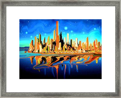 New York Skyline Blue Orange - Modern Art Framed Print