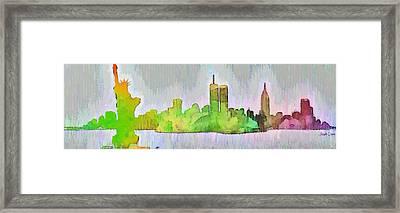 New York Skyline Old Shapes 2 - Da Framed Print by Leonardo Digenio
