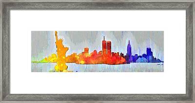 New York Skyline Old Shapes 3 - Pa Framed Print
