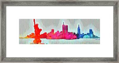 New York Skyline Old Shapes - Da Framed Print by Leonardo Digenio