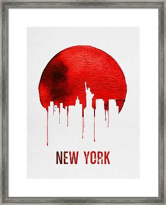 New York Skyline Red Framed Print