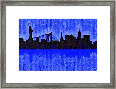 New York Skyline Silhouette Blue - Pa Framed Print by Leonardo Digenio