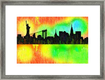 New York Skyline Silhouette Colorful - Pa Framed Print