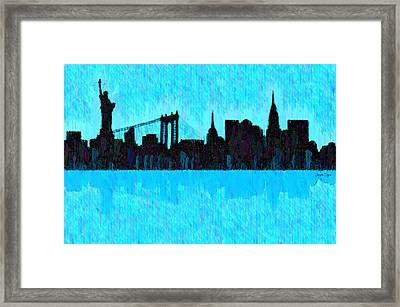 New York Skyline Silhouette Cyan - Da Framed Print