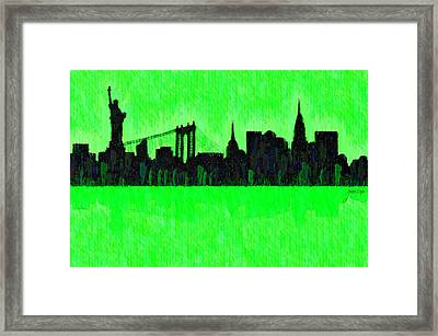 New York Skyline Silhouette Green - Pa Framed Print